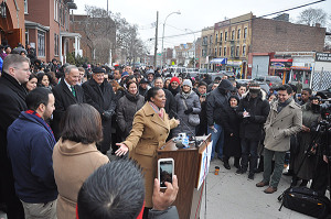 City Council member Julissa Ferreras at a press conference hosted by Bishop Nicholas DiMarzio and Catholic Migration Services at Our Lady of Sorrows Church, Corona, in March of 2014.
