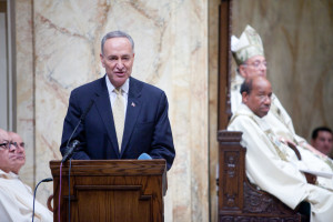 U.S. Senator Chuck Schumer--one of the eight senators who drafted an immigration reform bill--discusses the importance of immigration reform at the Migration Day Mass in Brooklyn